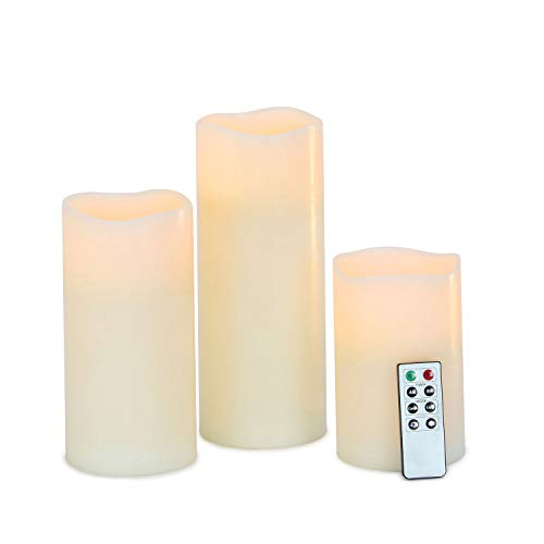 3 Large Melted Edge Flameless Candles, Smooth Ivory Wax, Variety Set, Batteries & Remote Included