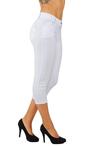 5StarsLine Women's Jean Look Jeggings Tights Slim Fit Pull Up Pants Solid Colors Full Length and Capri Casual Leggings (L USA 10-12, 5S01-CP-WHT) ()