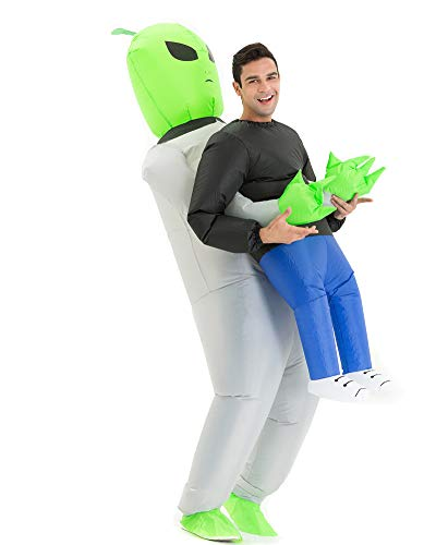 Quick Easy Halloween Costumes For Guys (Hsctek Carrying Me Costume, Inflatable Alien Abduction Costume Men Women, Alien Blow Up Costume, Halloween Costume for Men)
