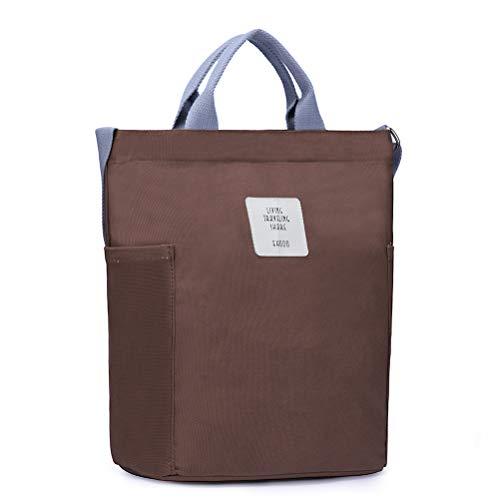 (HaloVa Women's Shoulder Bag, Stylish Handbag, Large Canvas Tote Bag, Multiple Ways to Carry, Brown)