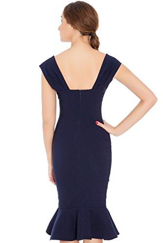 JU FASHION - Vestido - Estuche - Básico - Sin mangas - para mujer azul marino