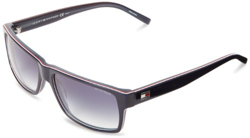 Tommy Hilfiger Th1042ns Rectangle Sunglasses,Blue, Red & White,57 mm
