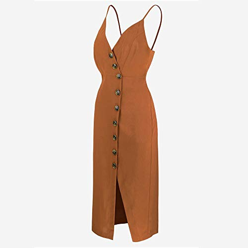 TOP-MAX Women's Dresses-Summer Spaghetti Strap Sleeveless Split Cocktail Party Casual Button Down Midi Dress Coffee