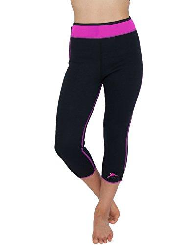 Delfin Spa Women's Heat Maximizing Neoprene Exercise and Anti-Cellulite Capris, PINK, Small
