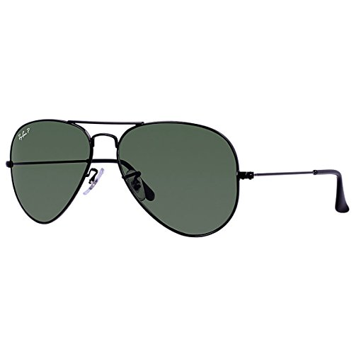 Ray-Ban AVIATOR LARGE METAL - BLACK Frame CRYSTAL GREEN POLARIZED (004/58) Lenses, 58mm