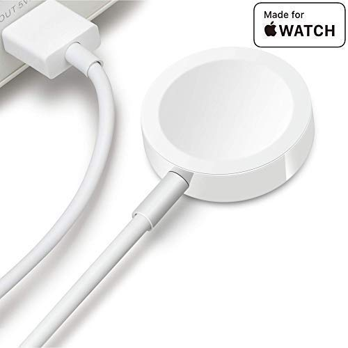 Mesqool Apple Watch Wireless Charger, Portable iwatch Magnetic Pod Charger with 3.3 ft (1M) USB Charging Cable Cord Compatible with All 38mm 42mm Apple Watch Series1 2 3 (White)
