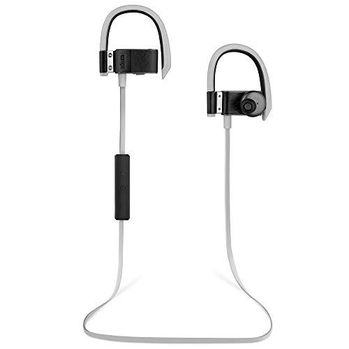 BÖHM S6 Leather Bluetooth Headphones Wireless In-Ear Earbuds Sweatproof Secure Fit Headset with Mic for Android or iPhone (Black Leather)
