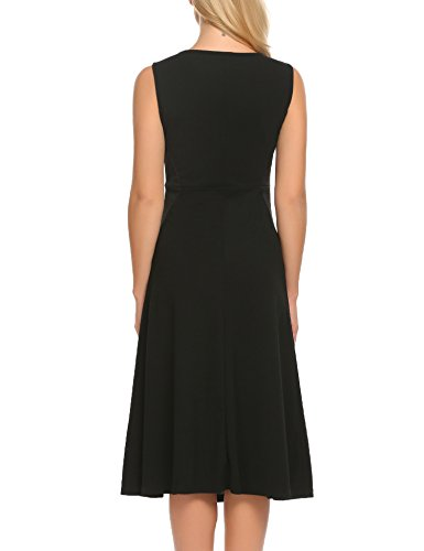 Black Solid A Women's Line Sleeveless Dress Midi ANGVNS wT0qw