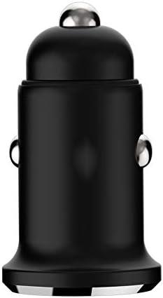 車の充電アダプタでUSB車の充電器、クイックチャージ自動車電話の充電器デュアルファスト同時に2つのデバイスを充電します (Color : Black)