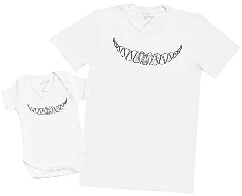 Cheshire Cat Smile - Matching Father Baby Gift Set - Mens T Shirt & Baby Bodysuit - White - XXXX-Large & Newborn -