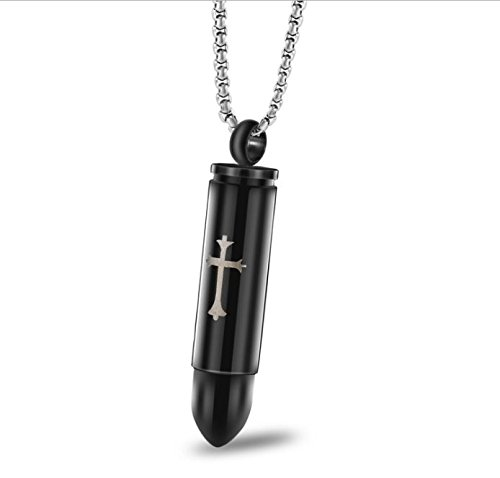 Stainless Steel Cylinder Cross Bullet Cremation Jewelry Memorial Ash Urn Necklace Pendant Chain