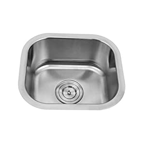 """Silver LINE Undermount Stainless Steel Grade 304 Kitchen Sink, 14-1/2"""" x 13"""" x 7"""""""