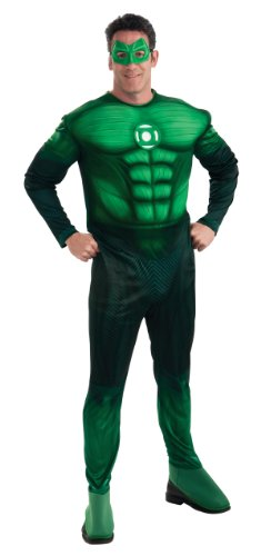 Green Lantern Deluxe Hal Jordan Costume With Muscle Chest, Green, X-Large (Green Lantern Costume For Men)