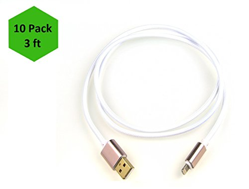 iProtect 10-Pack 3ft USB Nylon Braided Lightning Charging/Sync Cable for Apple iPhone 5 5s 5c SE, iPhone 6 6 Plus 6s 6s Plus, iPhone 7 7 Plus, iPhone 8 8 Plus, iPhone X, iPad - White