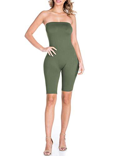 BEYONDFAB Women's Biker Short Pant Tube Jumpsuit One Piece Short Catsuit Olive L (One Piece Tube)