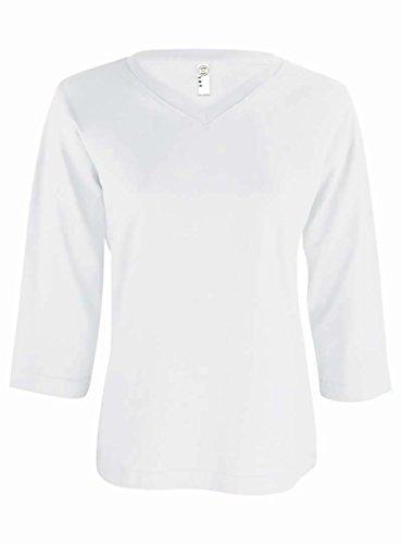 LAT Ladies 3/4 Sleeve Jersey V-Neck Tee, White, XL