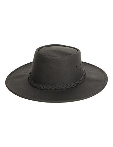 Minnetonka Unisex Fold Up Hat, Black Leather, Small -