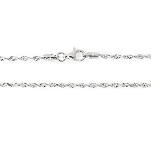 14k White Gold 2.0mm Solid Diamond-Cut Royal Rope Anklet, 10''
