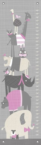 Oopsy Daisy Happy Animal Herd Growth Chart, Gray/Pink, 12
