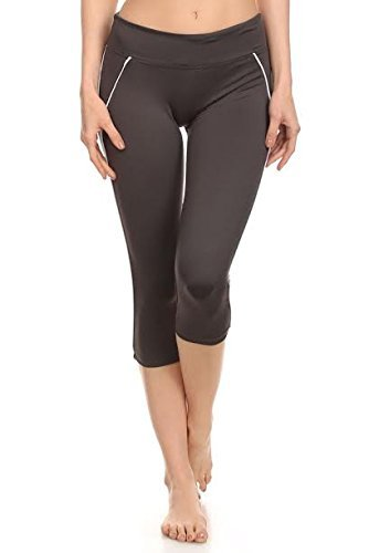 5772829692b8a Elan Vital Leggings by LA Society - Yoga Capris for Women - Hidden Pocket  (Charcoal