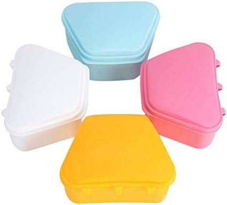 EXCEART 4 stks Denture Cups Denture Bad Box Valse Tanden Container Denture Brush Retainer Case voor Denture Cleaning Store geelblauwwitroze