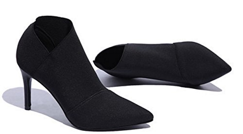 Boots For Women Ankle High Heels Pointed Toe Fashion Sexy Black 7.5 (Birkenstocks Sale Clearance)