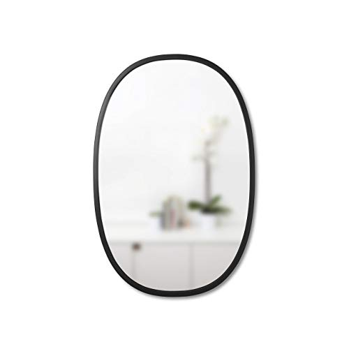 """Hub 24 x 36"""" Oval Wall Mirror With Rubber Frame, Modern Room Decor for Entryways, Washrooms, Living Rooms and More, Black"""