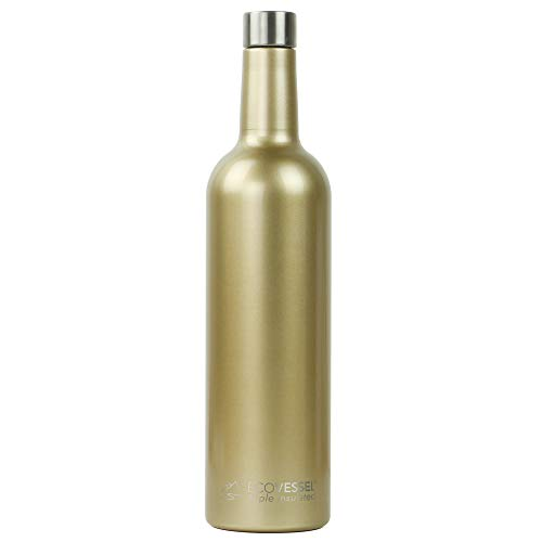 (EcoVessel Vine TriMax Triple Insulated Wine Bottle, Gold Dust, 25 oz)