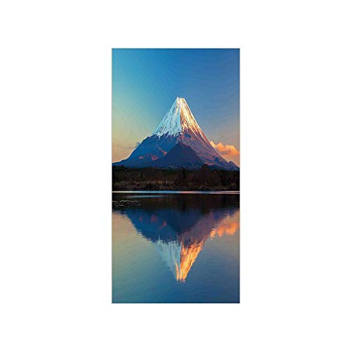 Ylljy00 Decorative Privacy Window Film/Mount Fuji and Lake Shoji Picture Clear Sky Sunset Photo Print/No-Glue Self Static Cling for Home Bedroom Bathroom Kitchen Office Decor ()