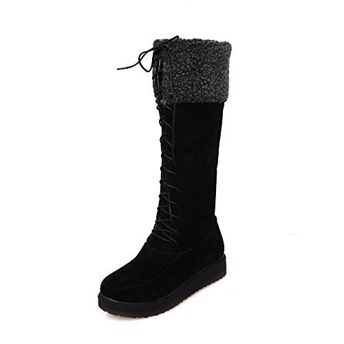 Flat Boots up Riding Boots Womens Winter Snow Knee Fur High Lace Elegant Black AIWEIYi tqX1w8q