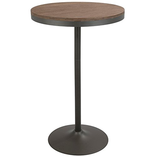 Lumisource Table - Lumisource Dakota Industrial Adjustable Bar/Dinette Table, Round, Gray/Brown