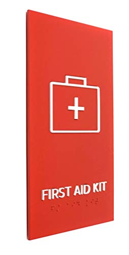 Kubik Letters First Aid Kit Sign, ADA Compliant Modern Design Sign with Grade 2 Braille for First Aid Kit Location with 3M Double Sided Tape