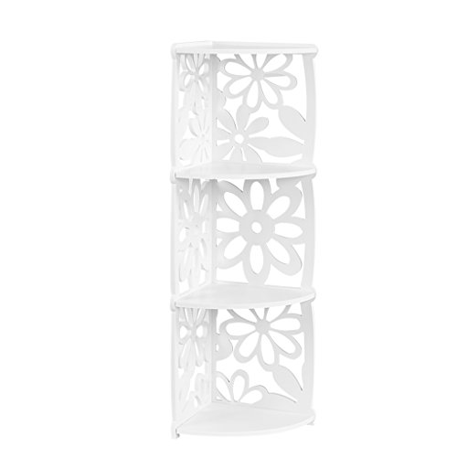 Finether 3-Shelf Shelving Unit, Modular Flower White Wooden Plastic Composite 3 Tier Quarter-Circle Corner Shelving Unit Storage Shelf Bookcase Display Shelf for Bedroom Living Room Kitchen Office (Modular Corner)
