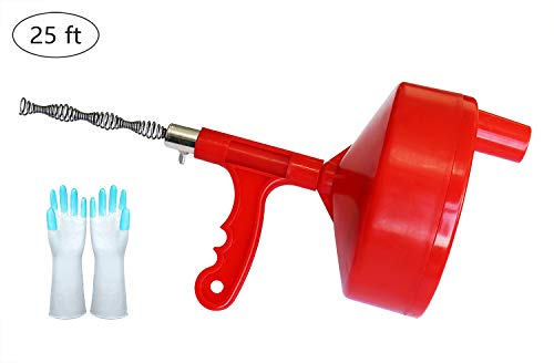 Drain Snake 25-FT, Plumbing Snake, Drain Auger Clog Remover Plumbing Pipe Unblocker Cleaner, Sewer/Bathtub Drain/Kitchen Sink Cleaner, With Gloves By KINGLEV (Plumbing Auger 50)
