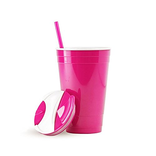 Party Cup w/Lid & Straw - Double Wall for Hot or Cold Drinks - Acrylic - 16oz. Capacity - Neon (Neon Solo Cups)