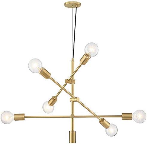 MOTINI 6 Lights Sputnik Chandelier Brushed Brass Modern Pendant Lighting
