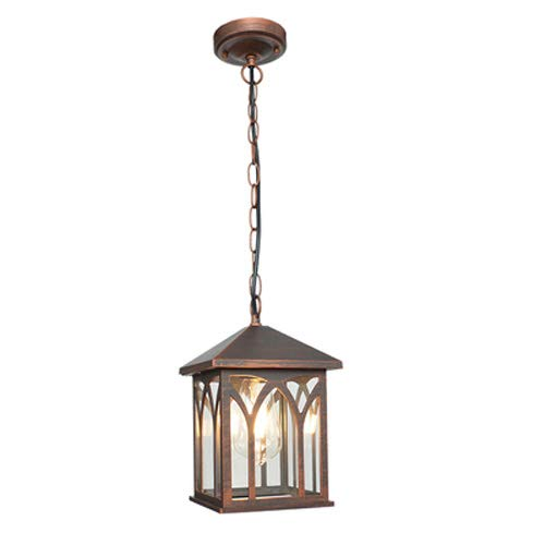 Pumpink Barn 1 Light Household Outdoor Led Waterproof Pendant Light Creative Garden Pavilion Garden Hanging Lantern European Retro Rainproof American Lamps for Porch (Color : - Pendants Gold Finish Highlights