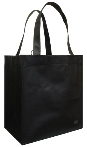 Reusable Grocery Tote Bag Black 6 Pack