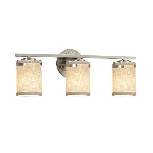 Justice Design Group Lighting FAB-8453-10-CREM-NCKL-LED3-2100 Textile Atlas LED 3-Light Bath Bar Finish with Woven Fabric Cream-Cylinder with Flat Rim Shade, Brushed Nickel