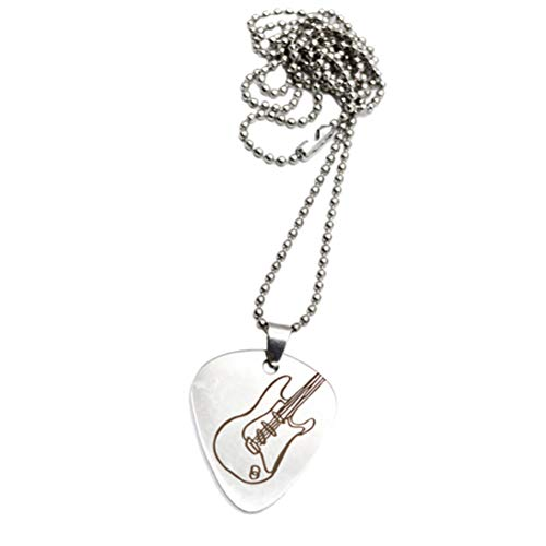 Healifty Stainless Steel Guitar Pick Necklace Metal Beads Cord Guitar Pick Charms Gifts 1Pcs ()