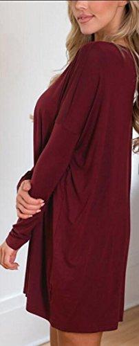 V Swing Women's Ruched Dress Sleeve Long Fashion Jaycargogo Red Neck 1ET0qxBw