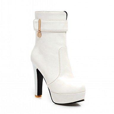 RTRY Zapatos De Mujer De Piel Sintética Pu Novedad Moda Otoño Invierno Confort Botas Botas Chunky Talón Puntera Redonda Botines/Botines Hebilla Parte &Amp; US8.5 / EU39 / UK6.5 / CN40