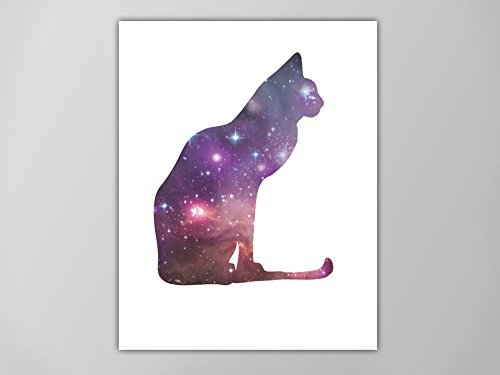Amazon com: Cat Spirit Animal Art Print, Galaxy Cat Poster