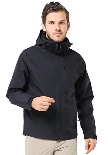 MIER Men's Lightweight Waterproof Rain Jacket with Hood Black Rain Shell Windbreaker for Outdoor, Hiking, Camping, Travel, XL