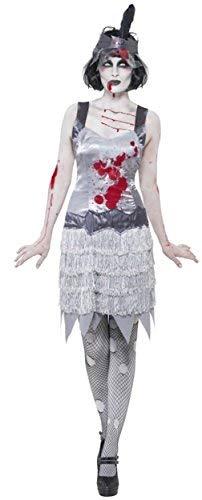 Ladies Zombie Dead Corpse Halloween Great Gatsby 1920s 20s Flapper Fancy Dress Costume Outfit UK 8-18 (UK 16-18) -