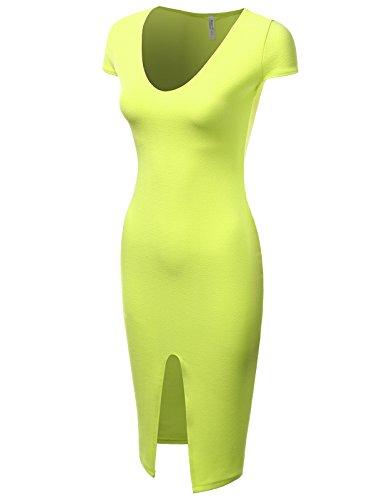 J.TOMSON Women's Scoop Neck Front Slit Bodycon Fit Short Sleeve Dress NEONYELLOW 2XL