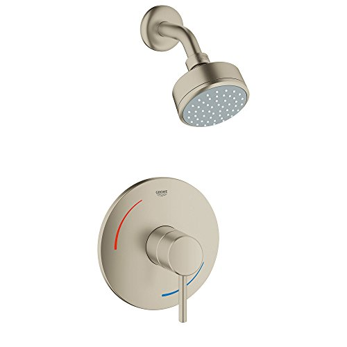 (Grohe 35075EN1 Concetto 1-Handle 1-Spray Tub and Shower Faucet in Brushed Nickel,)