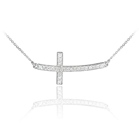 14k White Gold Curved Pendant Stone Studded Sideways Cross Necklace (White-gold, 22 Inches) (White Gold Sideways Necklace)