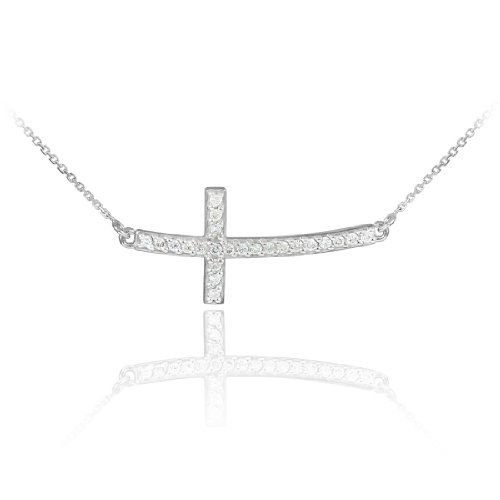 (925 Sterling Silver Curved Pendant Stone Studded Sideways Cross Necklace (Sterling-silver, 18 Inches))