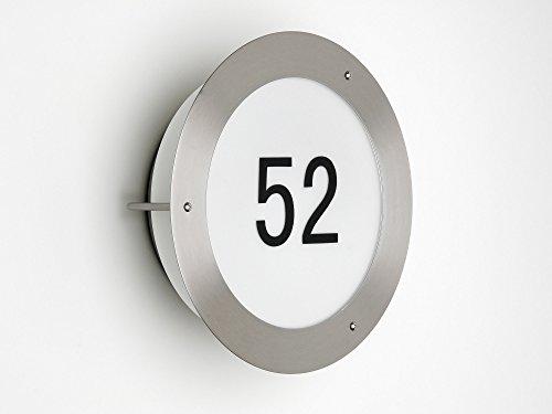 Moderne Wandleuchte mit Hausnummer aus Edelstahl / Glas, 1x E27 max. 60W